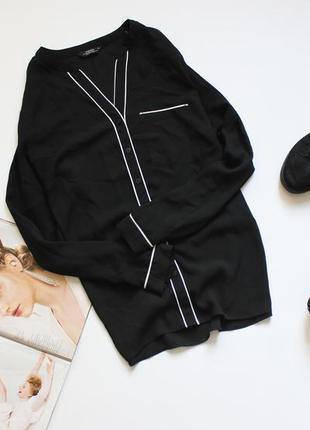 Красивая черная рубашка блуза шифоновая в бельевом стиле хл 14