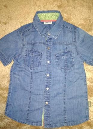 Джинсовая фирменная рубашка 2-3 года.