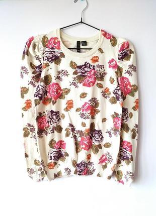 Красивая кофточка джемпер в цветочный принт розы шерсть от h&m винтаж