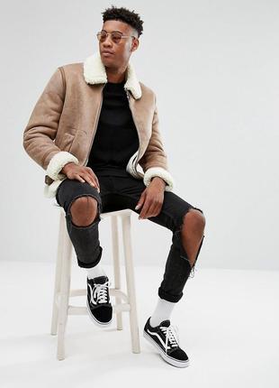 Актуальная мужская куртка-дубленка цвета camel asos