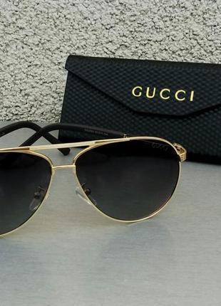Gucci очки капли унисекс солнцезащитные поляризированые в золотой металлической оправе