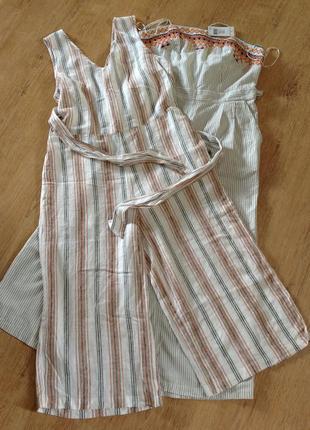 Стильный льняной свободный комбинезон с карманами в полоску с кюлотами размер 16