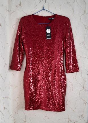 Платье сукня новое с этикеткой вечернее бордовое/красное в пайетках размер 44-46