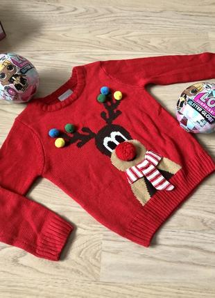 Стильный красный свитер с оленем