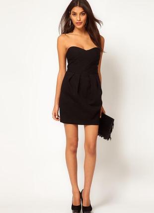 Базовое черное платье бюстье от h&m