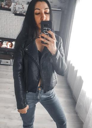 Массивная косуха, кожаная куртка от top shop