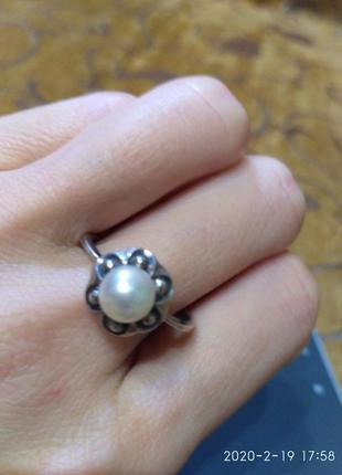 Нежное серебряное кольцо с жемчугом  р. 20 серебро 925 проба