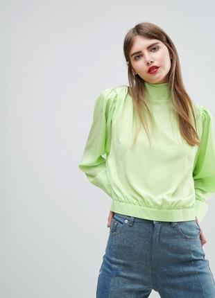 Крутая салатовая блуза  пуговицы на спинке аsos