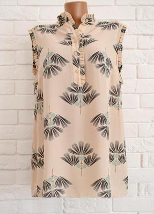 Стильная блуза без рукав с воротничком стоечка next uk18 новая