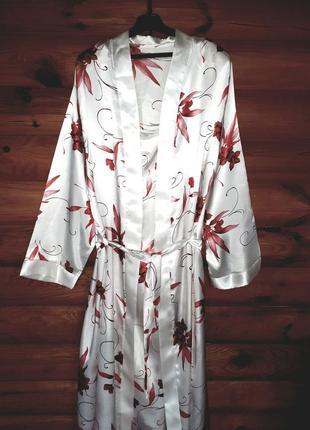 Шикарный сатиновый комплект- пеньюар халат и сорочка.