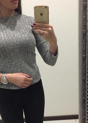 Стильный серый серый свитер топ /кофта / гольф в рубчик /фактурный в мелкую цветную крапинку /свобод2