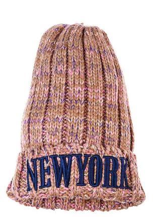 Распродажа шапок, вязаная бежево-сиреневая шапка, розовая вязаная шапка