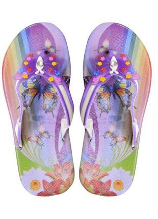 Вьетнамки для девочки butterfly. сиреневые.