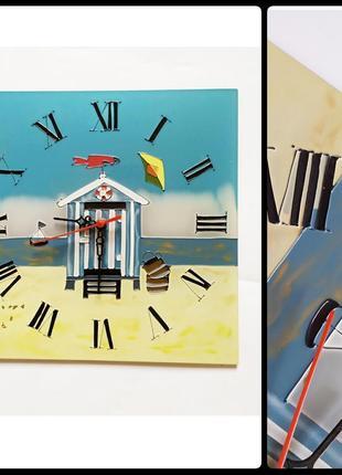 Настенные часы, стекло, морская тематика