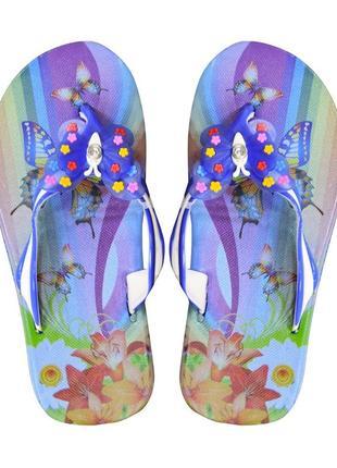 Вьетнамки для девочки butterfly. синие.