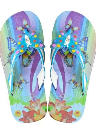 Вьетнамки для девочки butterfly. бирюзовые.