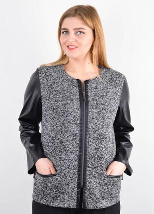 Размеры 50-64! модный жакет пиджак кофта букле с эко-кожей, большие размеры!