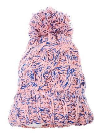 Распродажа шапок, вязаная розово-лазурная шапка, розовая вязаная шапка