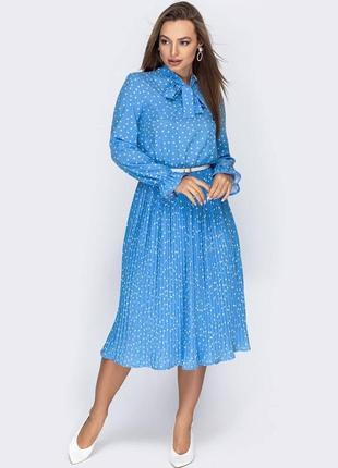 Платье с плиссированной юбкой в мелкий горошек