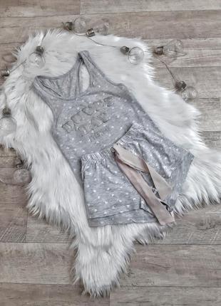 Mилая серая пижама в сердечко love to lounge