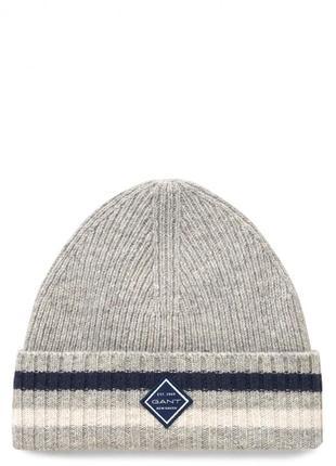 Шапка gant rib knit hat / beanie light grey
