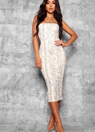 Актуальное платье миди по фигуре змеиный принт №226max