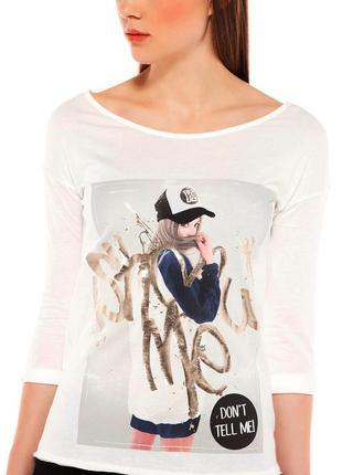 Белый пуловер с принтом bershka, s3