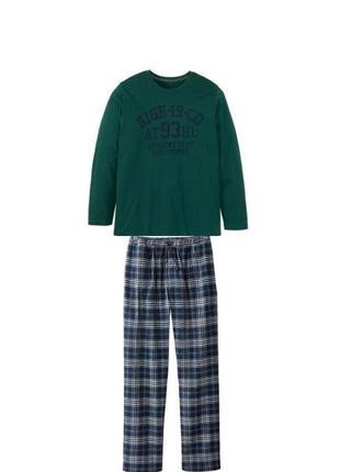 Теплая мужская пижама домашний костюм livergy германия, реглан, штаны фланель байка