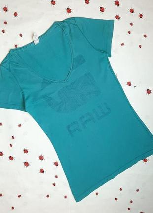 🌿1+1=3 фирменная мятная приталенная спорт футболка хлопок g-star raw, размер 42 - 44