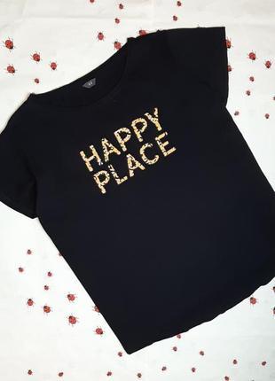 🌿1+1=3 фирменная черная женская футболка хлопок с надписью, размер 50 - 52