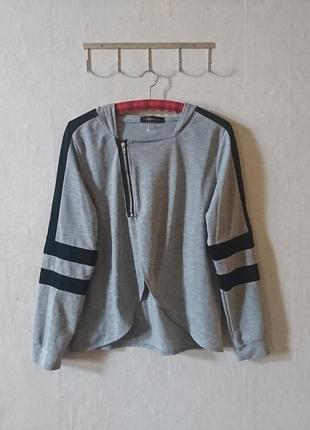 Стильный ассиметричный свитшот с полосами на рукавах и капюшоном🔸 бренд zanzea
