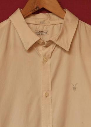 All saints m slim fit рубашка молочная из хлопка