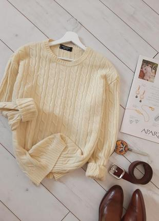 Made in italy  lana merinos стильный обьемный свитер в косы