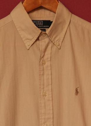 Polo ralph lauren l-xl 15 бежевая рубашка yaramouth cotton