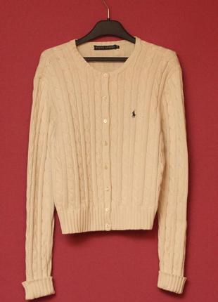 Polo ralph lauren рр l wmns свитер из хлопка фигурного плетения перламутровые пуговки