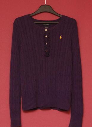 Polo ralph lauren рр m свитер из хлопка фигурное плетение маленькое жабо