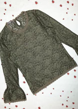 🌿1+1=3 фирменный кружевной лонгслив водолазка свитер хаки sanne, размер 44 - 46