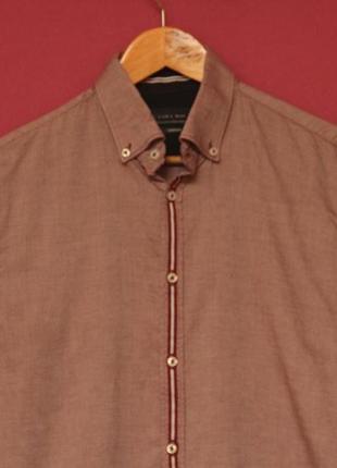Zara m рубашка из хлопка с отливом