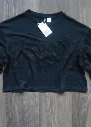 Укороченный женский пуловер с кружевом h&m, р. s