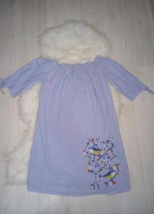 Летний сарафан платье с вышивкой