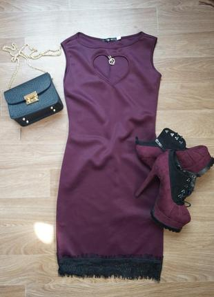 Шикарное вечернее  коктейльное платье цвета марсала  с кружевом
