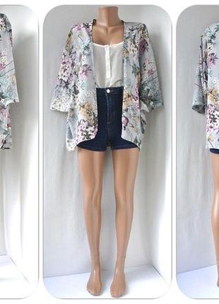 """Большой выбор! красивая накидка, кимоно """"new look"""" с цветочным принтом. размер uk10."""