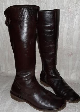Тёмно коричневые кожаные деми сапоги на низком ходу