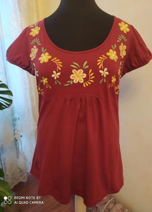 Терракотово-бордовая футболка в этно-стиле, george,   24 размер