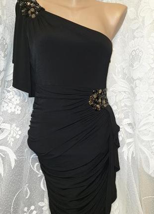 Нарядное вечернее выпускное платье на одно плечо новогоднее с камнями и стразами чёрное