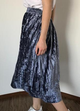 Плисированная юбка, гофре, плиссе, велюр