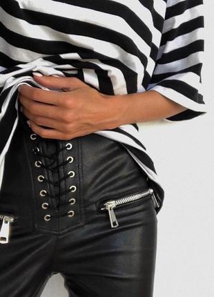 Шикарные кожаные брюки лосины леггинсы на шнуровке сексуальные облегающие черные
