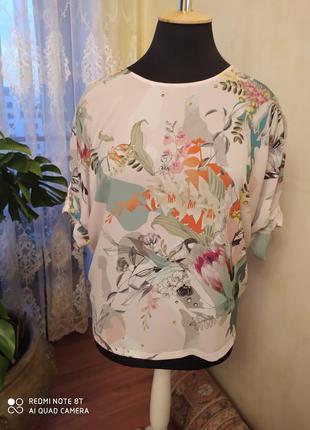 Вискозная футболка оверсайз с трикотажной спинкой, фирма next, 22 размер