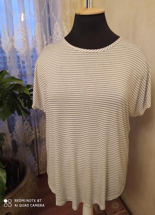 Вискозная футболка  в полоску, спущенный рукав, george, 24 размер, пог-72-73