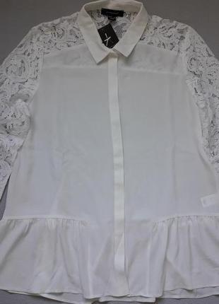 Шикарная блуза с кружевными рукавами и оборкой внизу большого размера atmosphere
